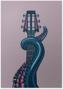 Plakát Chobotnice chapadlo se drží kytara riff.