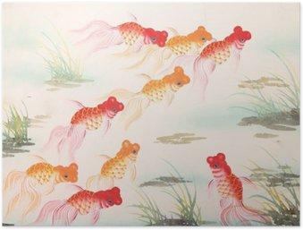 Plakát Čínská malba stříbřitý