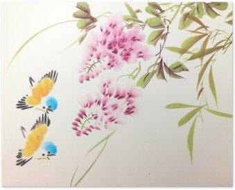 Plakát Čínská tušové malby ptáků a rostlin