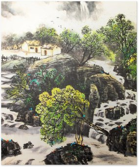 Plakát Čínské krajiny akvarel painting__