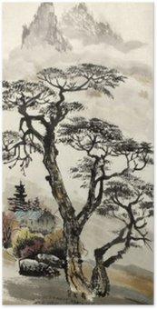 Plakát Čínské krajiny se stromem