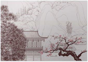 Plakát Čínské krajiny