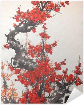 Plakát Čínský akvarel malba třešeň