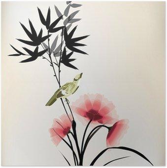Plakát Čínský inkoust styl květina pták výkres