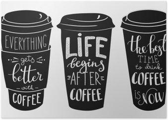 Plakát Citace nápisy na kávu papírové tvaru cup set