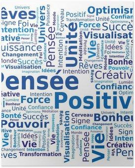 Plakát Cloud slov - Pozitivní myšlení ve francouzštině