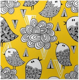Plakát Creative bezproblémové vzorek s doodle ptáků a designových prvků.