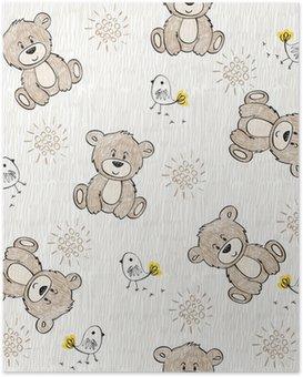 Plakát Cute ručně nakreslit bezproblémové vzor pro děti.
