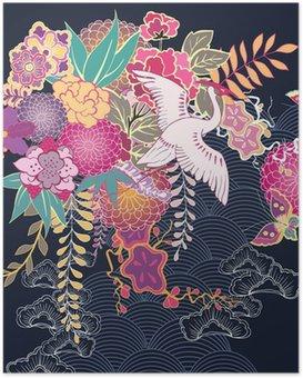 Plakát Dekorativní květinový motiv kimono