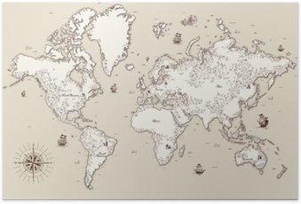 Plakát Detailní, staré mapy s vysokým svět s ozdobnými prvky