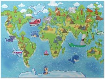 Plakát Děti mapa světa