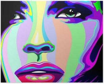 Plakát Dívčí portrét Psychedelic Psychedelic Rainbow-Face Girl