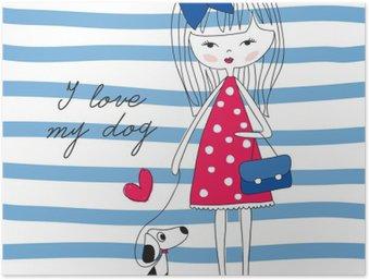 Plakát Dívka se psem vektorové ilustrace