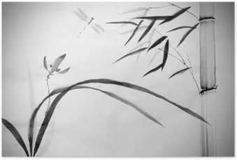 Plakát Divoké orchideje a bambusu