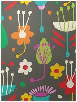 Plakát Doodle bezešvé květinovým vzorem