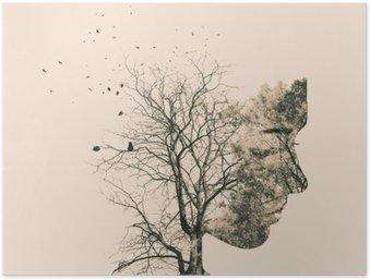 Plakát Double expozice portrét mladé ženy a podzimní stromy.