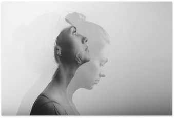 Plakát Double expozice s mladou a krásnou dívku, monochromatický