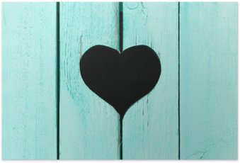 Plakát Dřevěné pozadí ze starých desek s oknem ve tvaru heart__