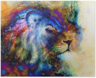 Plakát Duha lev na krásné barevné pozadí s nádechem prostor cítění, lev profilu portrét.