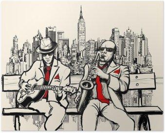 Plakát Dva jazzové muži hrát v New Yorku