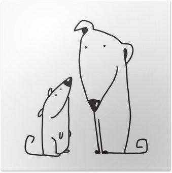 Plakát Dva kreslený hnědý pes rodič a dítě