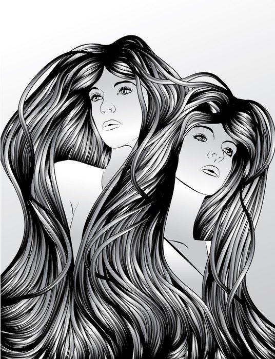 Plakát Dvojčata se zajišťovacím vlasy -