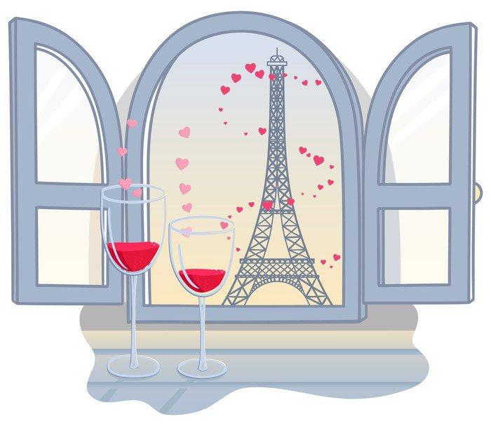 Plakát Effel věž svatého Valentýna a dvě sklenice s vínem. vektor illust - Památky