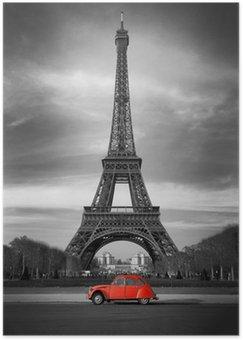 Plakát Eiffelova věž, Paříž červené auto-