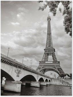 Plakát Eiffelova věž pohled z formátu řeky Seiny náměstí