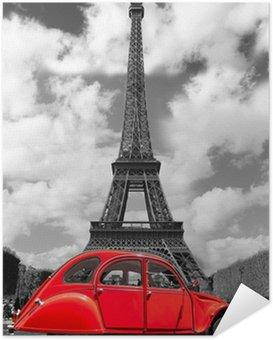 Plakát Eiffelova věž s červeným staré auto v Paříži, Francie