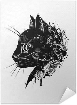 Plakát Ein květinové verzierter Kopf einer Katze .__ Katzenkopf im Scherenschnitt Stil__