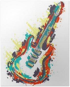 Plakát Elektrická kytara. Rukou nakreslený grunge ve stylu art. Retro poutač, karty, t-shirt, bag, tisk, poster.Vintage barevné ručně kreslenými vektorové ilustrace