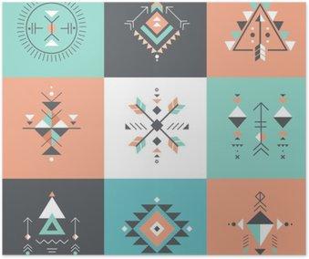 Plakát Esoteric, Alchymie, posvátná geometrie, kmenové a Aztec, posvátné geometrie, mystik tvary, symboly