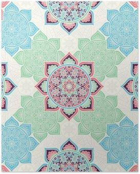 Plakát Etnický květinový vzor bezešvé