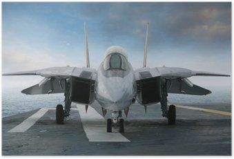 Plakát F-14 stíhačky na palubě letadlové lodi při pohledu zepředu