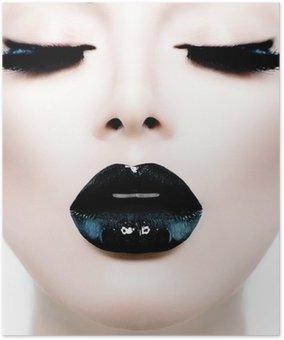 Plakát Fashion Beauty Model Girl with Black make-up a dlouhé Lushes