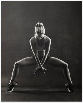Plakát Fitness žena žena s svalnaté tělo, cvičení