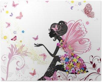Plakát Flower Fairy v prostředí motýlů