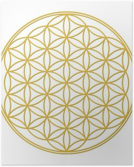 Plakát Flower of Life Gold se stínem