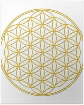 Plakát Flower of Life Gold se stínem