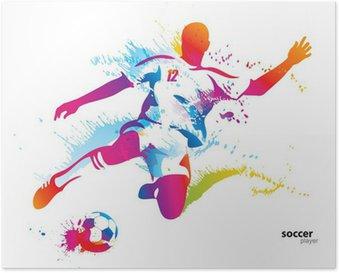 Plakát Fotbalista kopne míč. Barevné vektorové ilustrace
