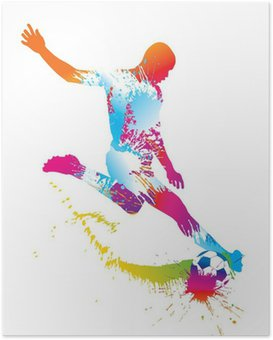 Plakát Fotbalista kopne míč. Vektorové ilustrace.