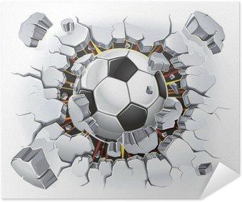Plakát Fotbalový míč a Old poškození omítka. Vektorové ilustrace