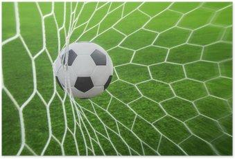 Plakát Fotbalový míč v cíli