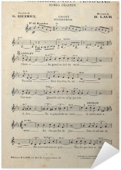 Plakát Francouzský starožitný ročník hudebního listu.