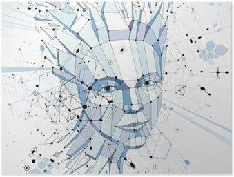 Plakát Futuristický 3d vektor pozadí provádí pomocí Bauhaus prvků. HEA