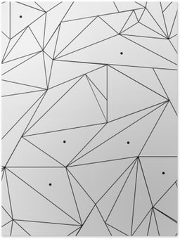 Plakát Geometrické jednoduchá černá a bílá minimalistický vzor, trojúhelníku nebo okenní vitráž. Může být použit jako tapety, pozadí nebo textury.