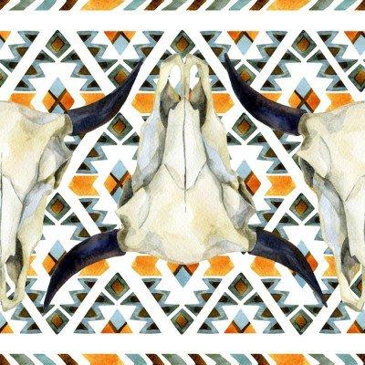 Plakát Geometrický etnické bezešvé vzor s krávou lebka