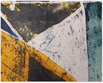 Plakát Geometrie, horké batikování, pozadí textury, ruční práce na hedvábí, abstraktní umění surrealismus