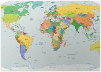 Plakát Globální politická mapa světa, vektorové